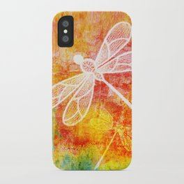 Dragonfly in embroidered beauty iPhone Case