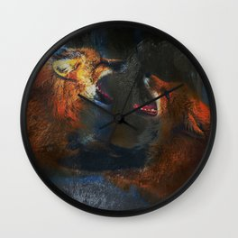 Fighting Foxes Wall Clock