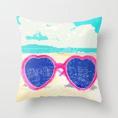 Sunglasses on beach Throw Pillow
