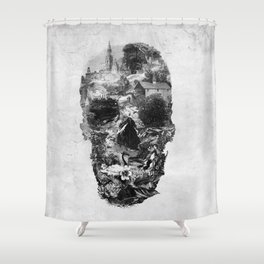 Town Skull B&W Shower Curtain