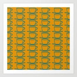 Teacups - ochre and teal Art Print