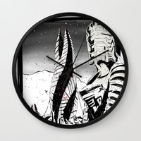 dead space Wall Clocks featuring Dead Space by Averagejoeart