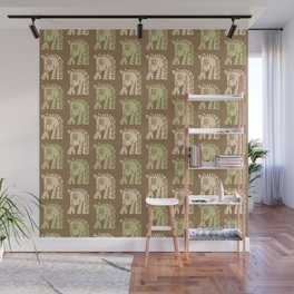 Mid Century Horse Pattern Brown Sage and Beige Wall Mural