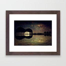 guitar island moonlight Framed Art Print