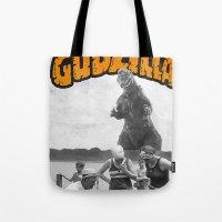 godzilla Tote Bags featuring godzilla  by sr casetin