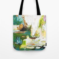 "flora bowley Tote Bags featuring ""Rise Above"" Original Painting by Flora Bowley by Flora Bowley"