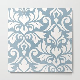 Flourish Damask Art I Cream on Blue Metal Print