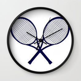 Crossed Rackets Silhouette Wall Clock