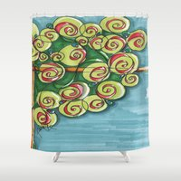 plant Shower Curtains featuring plant by Onde di Tela by Antonella Franco