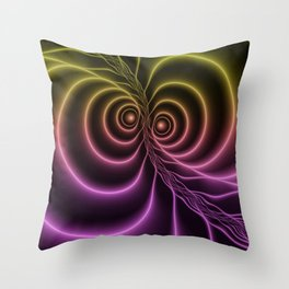 The Glow Of Colors, Fluorescent Abstract Fractal Art Throw Pillow
