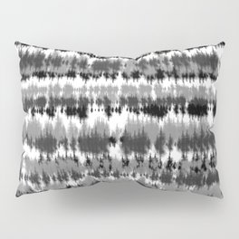 Stripe Tie Dye - Black White Grey Pillow Sham