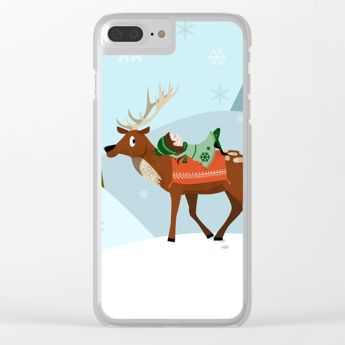 Christmas deer and elf Clear iPhone Case