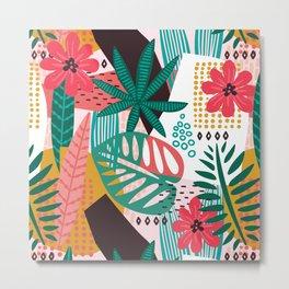 Matisse Inspired Pop Art Tropical Fun Jungle Pattern Metal Print