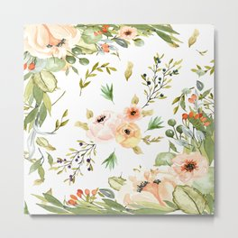 Pretty Watercolour Floral Print Metal Print
