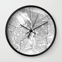 Minimal City Maps - Map Of Portland, Oregon, United States Wall Clock