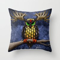 pinapple Throw Pillows featuring Pinapple Breasted MooseOwl by Joby Cummings
