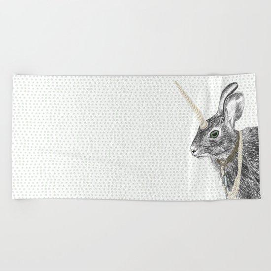 uni-hare All animals are magical Beach Towel