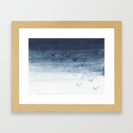 Birds in blue Framed Art Print