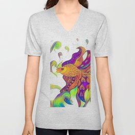 Multicolour abstract fish graphic painting Unisex V-Neck