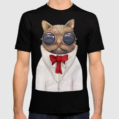 Astro Cat Black Mens Fitted Tee LARGE