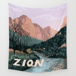 Zion National Park, Utah, USA Illustrated National Parks Wall Tapestry