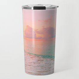 Beautiful: Aqua, Turquoise, Pink, Sunset Relaxing, Peaceful, Coastal Seashore Travel Mug