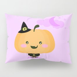 Halloween pumpkin in witch costume Pillow Sham
