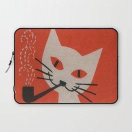 Retro White Cat Smoking a Pipe Laptop Sleeve