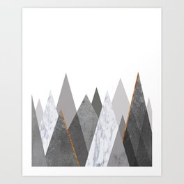 Marble Gray Copper Black and White Mountains Art Print