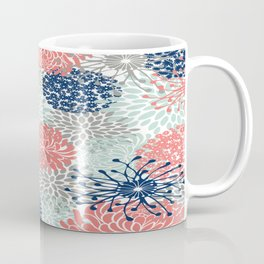 Floral Print - Coral Pink, Pale Aqua Blue, Gray, Navy Coffee Mug