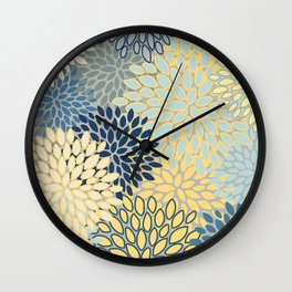 Floral Print, Yellow, Gray, Blue, Teal Wall Clock