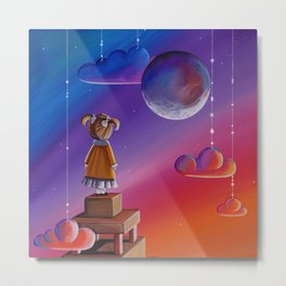 The Conversation - with the moon Metal Print