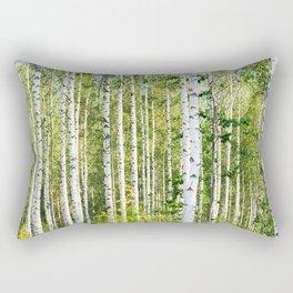 Sunny Day in Beautiful Birch Grove Landscape #decor #society6 #buyart Rectangular Pillow
