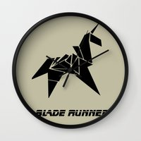 blade runner Wall Clocks featuring Blade Runner - Rachel's Origami by Thecansone