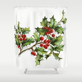 Holly Berries 001 by JAMFoto Shower Curtain