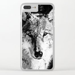 wolf splatter watercolor black white Clear iPhone Case