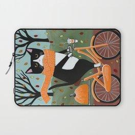 Tuxedo Cat Autumn Bicycle Ride Laptop Sleeve