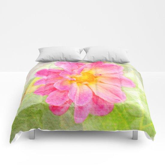 Pink Pastel Watercolor Flower Comforters