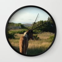 pony Wall Clocks featuring pony by catrinaevans