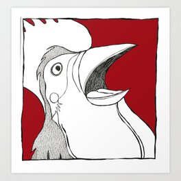 Rooster Shock Art Print
