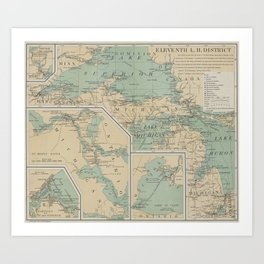 Vintage Great Lakes Lighthouse Map (1898) Art Print