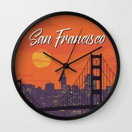 San Francisco vintage poster travel Wall Clock