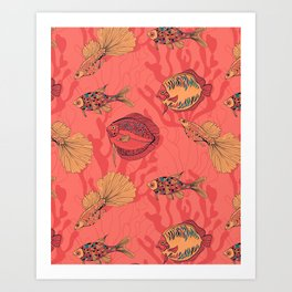 Fishes on living coral background Art Print