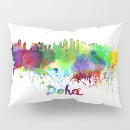 Doha skyline in watercolor Pillow Sham