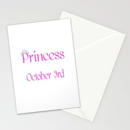 A Princess Is Born On October 3rd Funny Birthday Stationery Cards