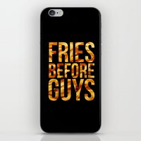 french fries iPhone & iPod Skins featuring Fries Before Guys - French Fries by Kris James