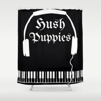 puppies Shower Curtains featuring Hush Puppies by Mike Semler