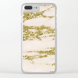 Marble - Gold Marble Glittery Light Pink and Yellow Gold Clear iPhone Case