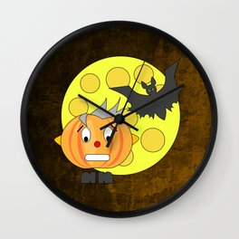 Funny teeth clenched pumpkin head with bat and moon Wall Clock