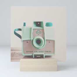 mint green vintage girl scout camera photograph Mini Art Print